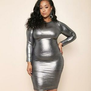 Metallic (Silver) Bodycon Dress Plus Size 2X